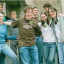 At the Evangelical Catholic Conference in Madison, Wisconsin, 2006. From left to right: Chad Geurts, Jessica (Robinson) Geurts, Samuel Sokolowski, Fr. Dustin, Rhen Hoehn, Annie (Rokos) Lothschutz, Chris Beyer, and Ashley DePottey